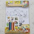 Cartoon coloring book set with colored pencil, kids coloring book printing 1