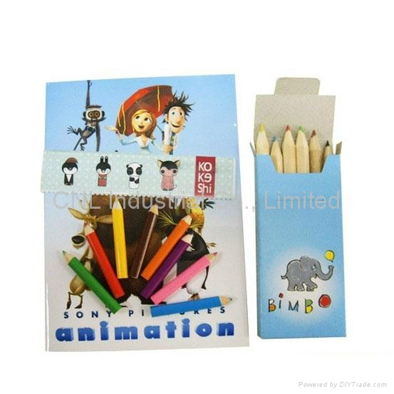 Cartoon coloring book set with colored pencil, kids coloring book printing 3