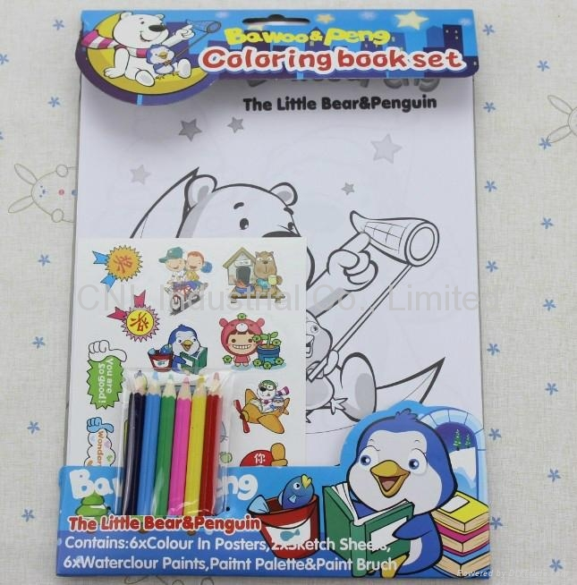Color drawing set, stationery set gift, baby color book printing gift