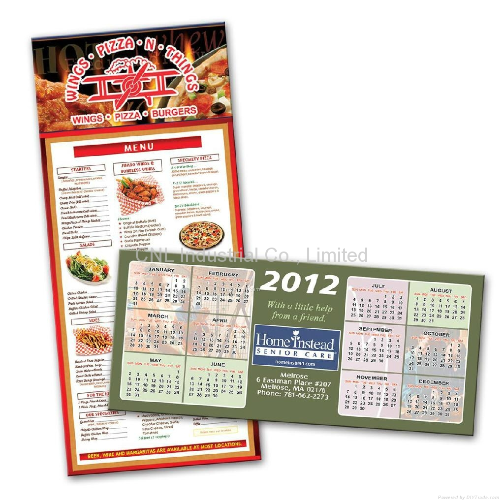 New customized paper magnetic fridge calendar, any shape available 4