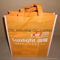 Customized logo printed non woven shopping bag with handle