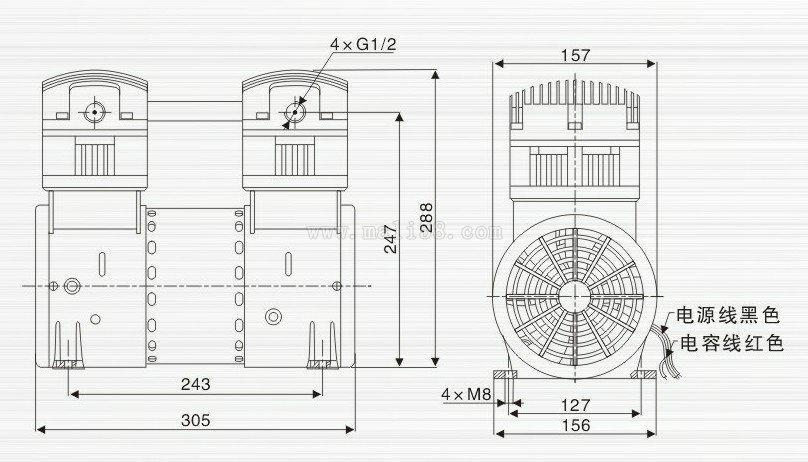 雕刻機無油小型真空泵 2