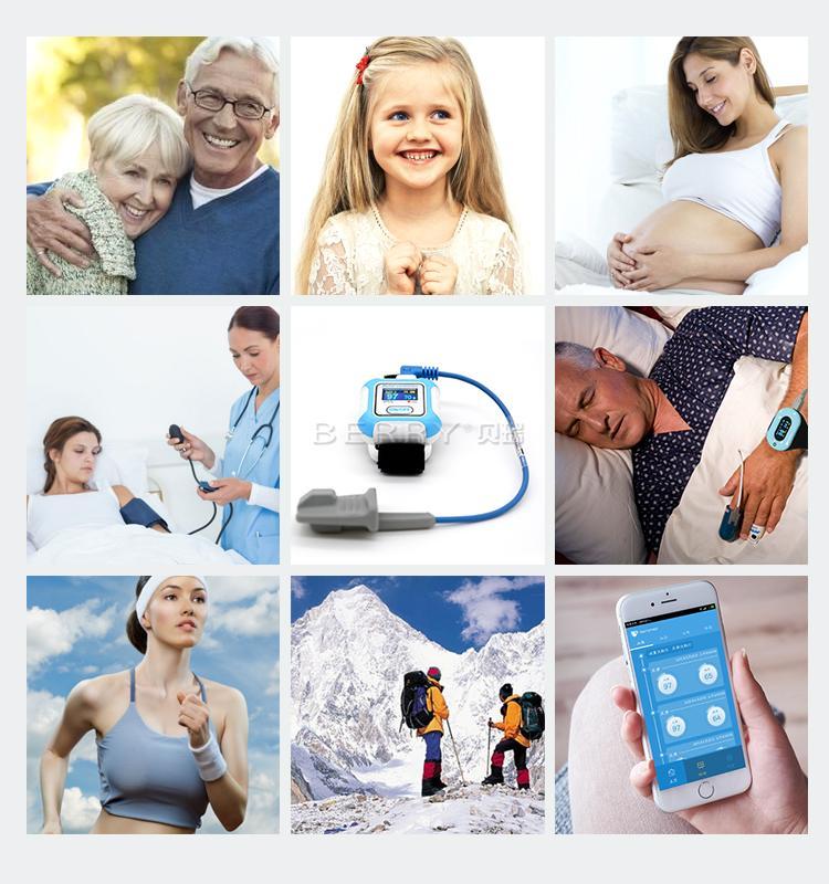 醫學腕式用於睡眠呼吸暫停症狀手指藍牙脈搏血氧儀 4