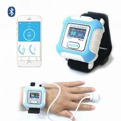 醫學腕式用於睡眠呼吸暫停症狀手指藍牙脈搏血氧儀