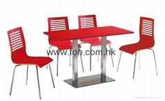 Red high gloss affordable canteen lunchroom dining room bistro furniture