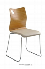 Leather Padded Stacking Bentwood Cafe Chair with Soft Cushion