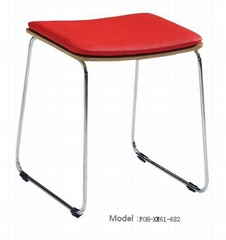 Cheap Red Upholstered Stainless Steel Base Bar Stool