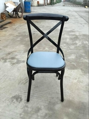 Sprig Bar Bistro Black Metal X Back Industrial Design Dining Chair