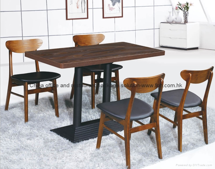 Coffee Shop Wooden Dining Table Chair 1
