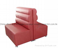 Customized double side red restaurant sofa