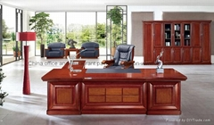 Luxury boss office table classic wood executive office desk set