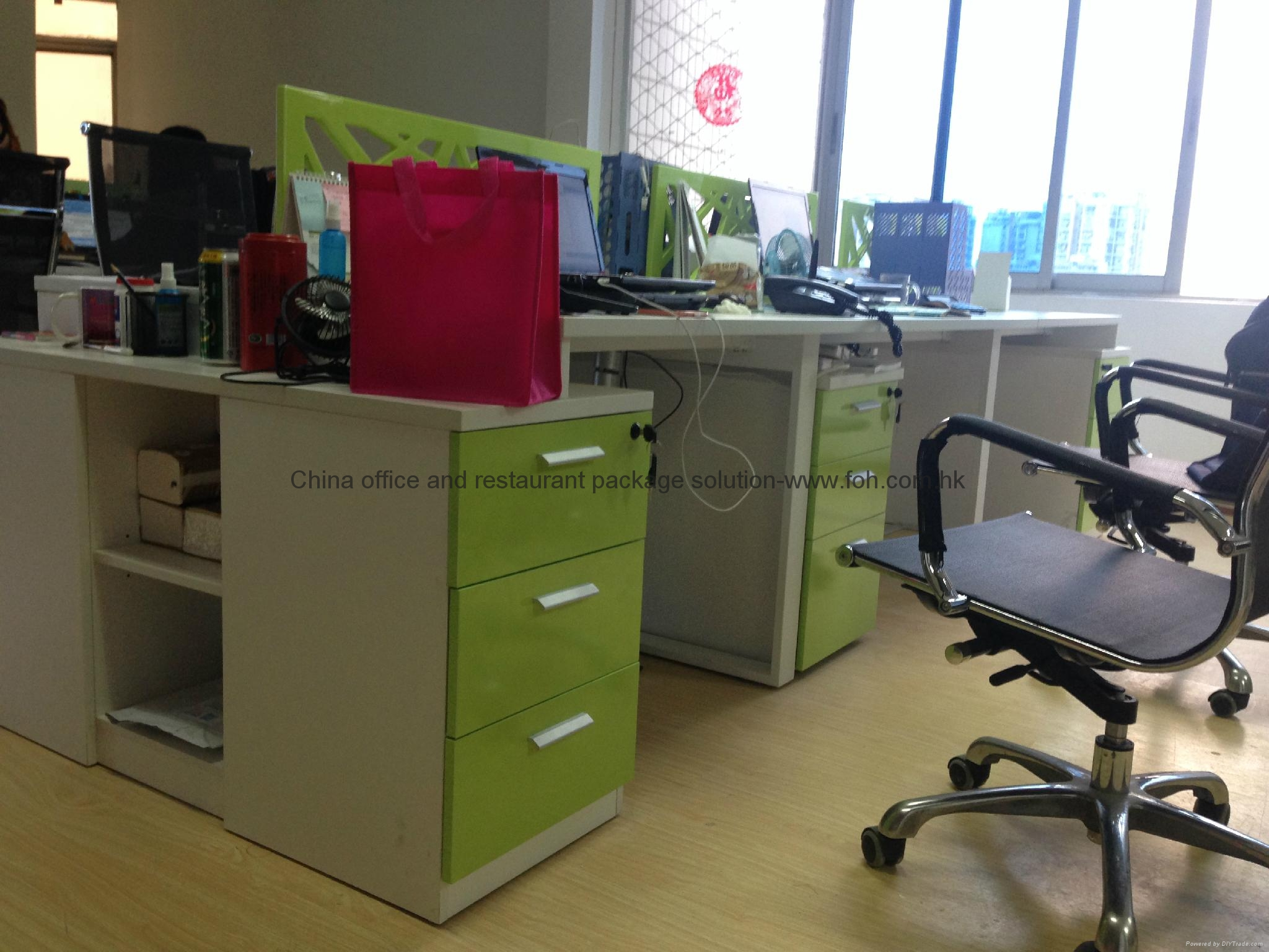 german new green white office desk group design in