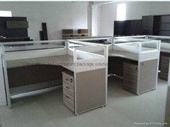 L-shape Office Working Paritions Desk Group Design Office Furniture