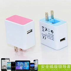 可折疊美式USB手機充電器