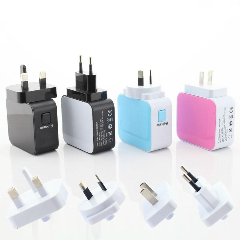 彩色旅行充电器
