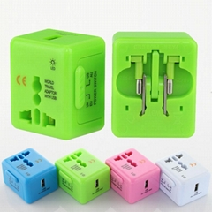 Mini size all in one travel adapter with USB