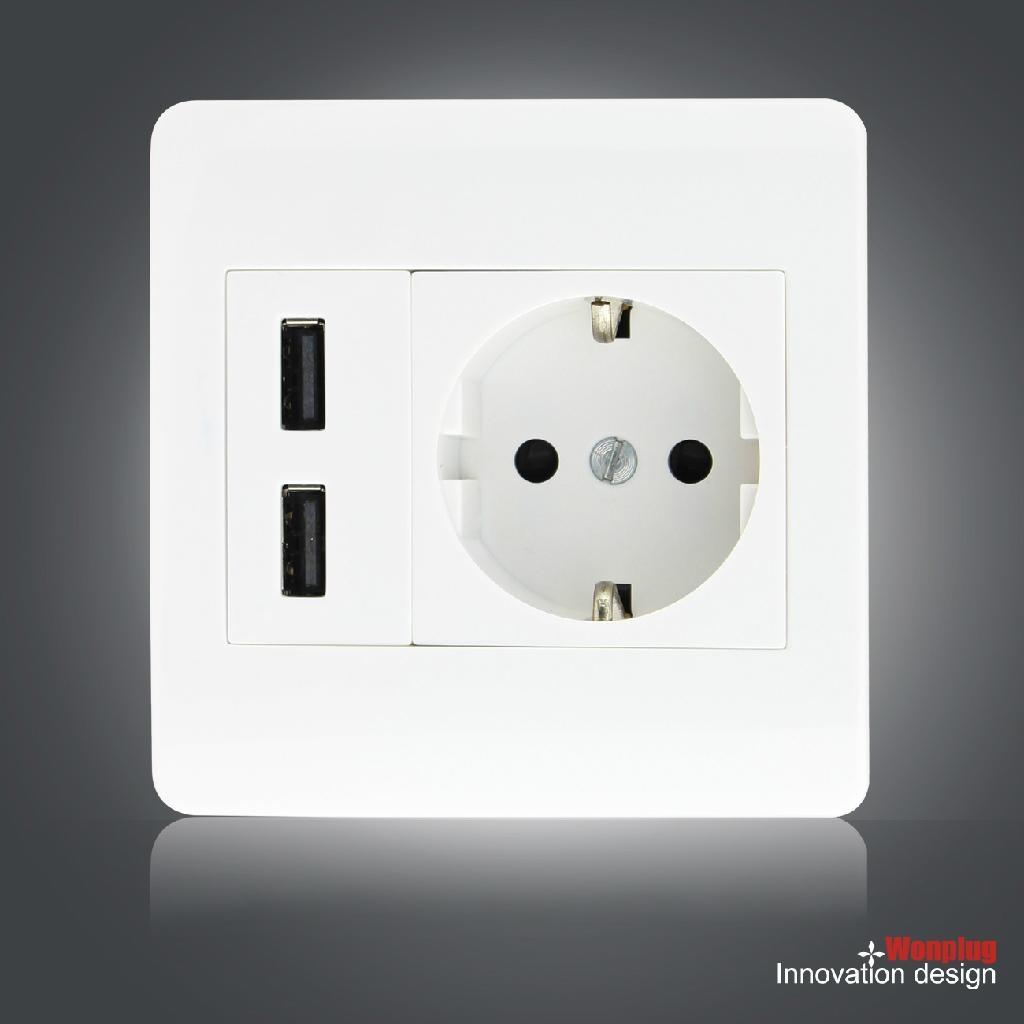 欧规USB墙插