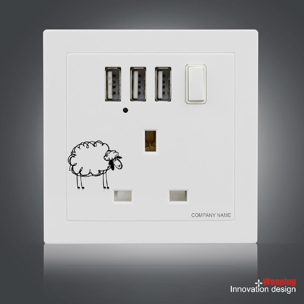 UK Wall Socket with 3 USB Port and Switch 2