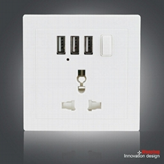 Universal Wall Socket with 3 USB Port and Switch