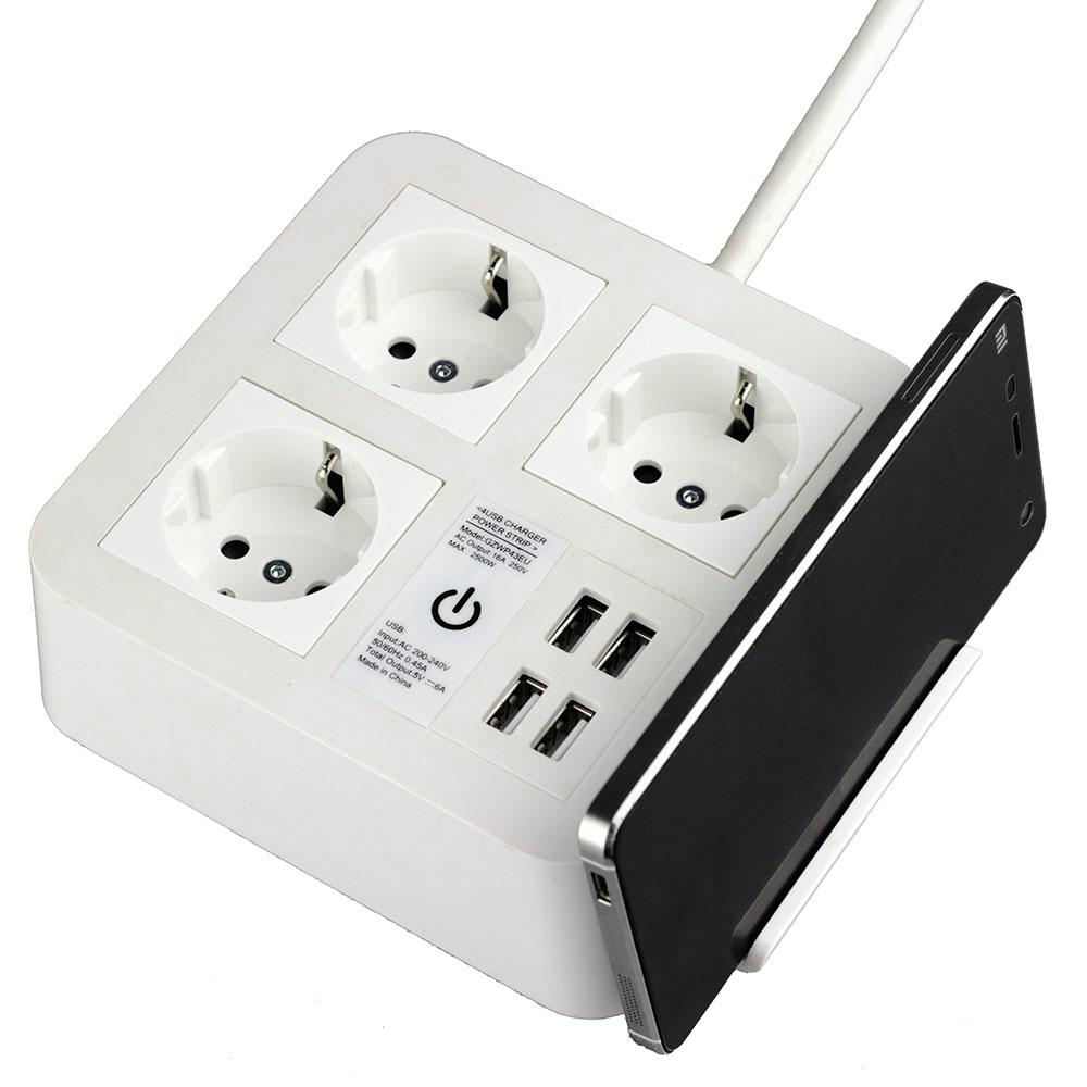 充电器开关插座 带手机支架 插线板插排