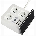 4-port USB desk charger with 3 Chinese outlets and phone holder 3