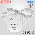4-port USB desk charger with 3 Chinese outlets and phone holder 1