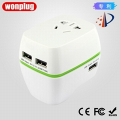 2017 new model universal travel plug adapter with usb and safety shutter