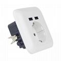 EU Germany USB wall socket outlet