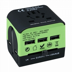 universal travel plug adapter with 3usb ports