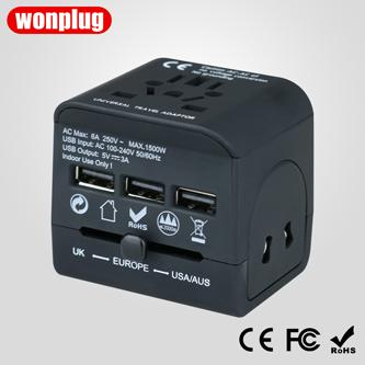 Universal travel adapter with 3USB