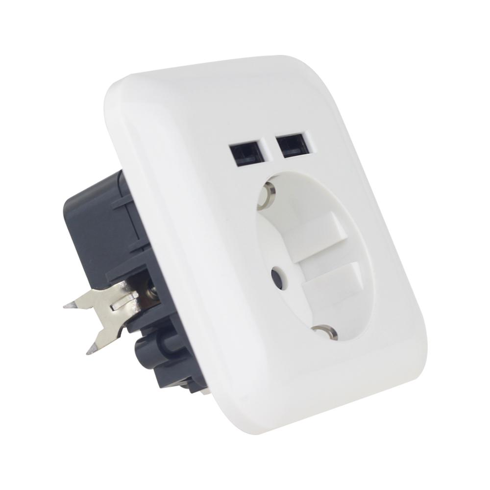germany 16A 2.1A USB wall socket usb charging outlet receptacle 3