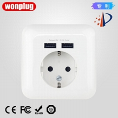 germany 16A 2.1A USB wall socket usb charging outlet receptacle