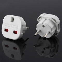 UK to Euro plug adapter with safety shutter
