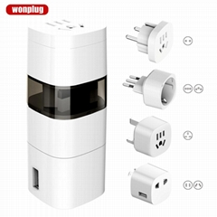 Hot sale Wolrd Travel Adapter with UK/US/AU/EU/Italy/Switzerland plug (Hot Product - 1*)