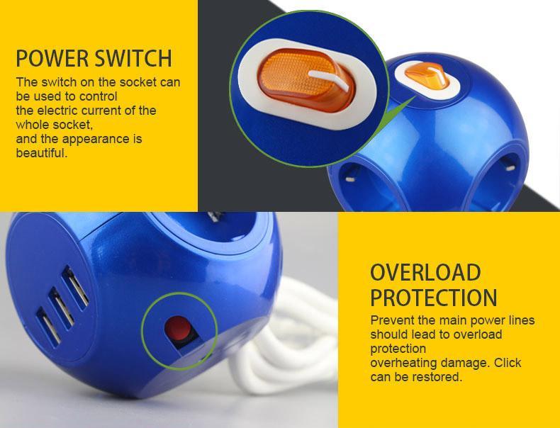 3USB Europe power strip multi Socket Outlets for Korea/Germany/France/Denmark 13