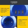 3USB Europe power strip multi Socket Outlets for Korea/Germany/France/Denmark 15