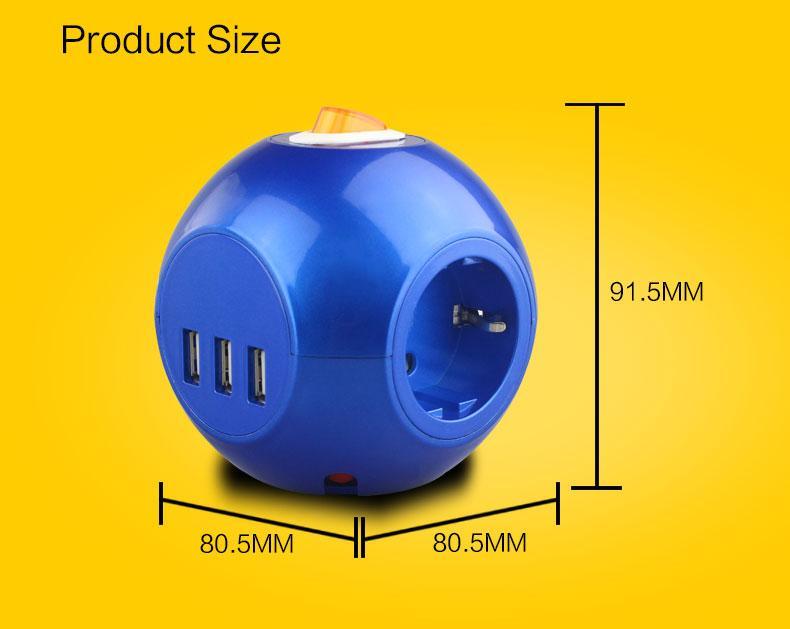3USB Europe power strip multi Socket Outlets for Korea/Germany/France/Denmark 17