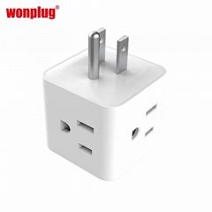 USA travel plug adapter extension socket with 4 outlets and 2USB