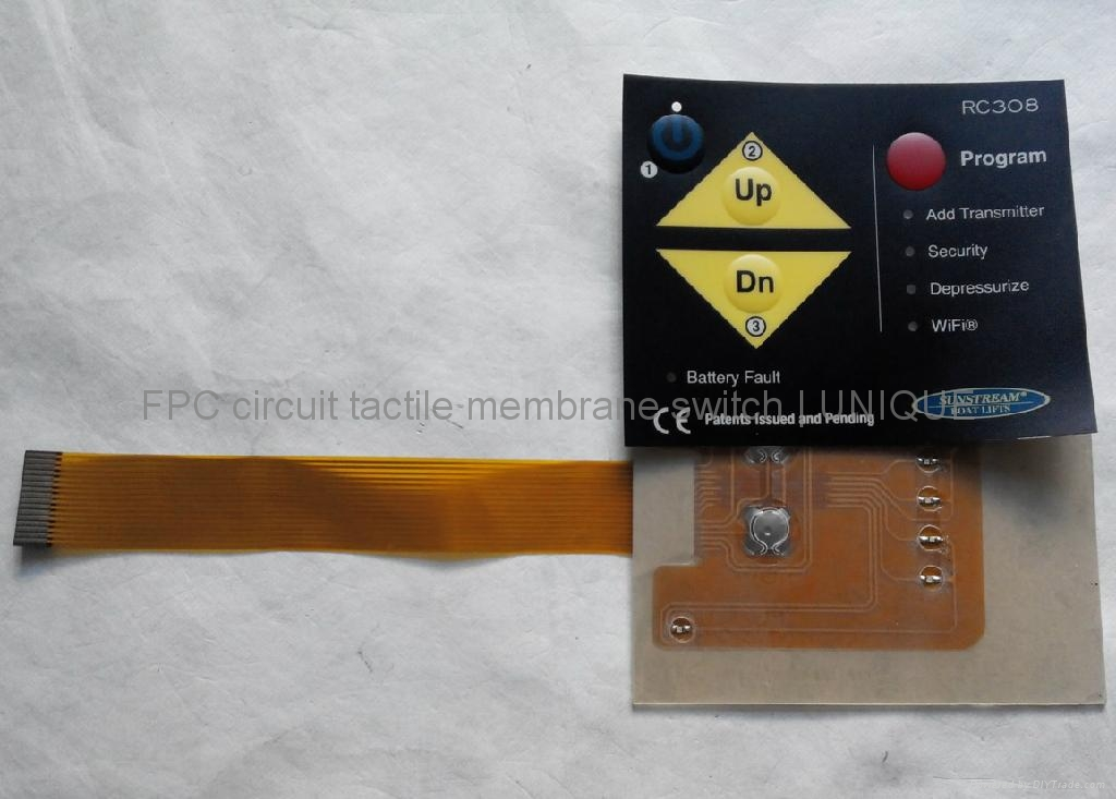 LED Backlight Tactile Membrane Switch with FPC Circuit, VTMS00315 2