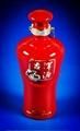 中國紅釉色優質陶瓷酒瓶