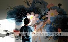 云南昆明家装彩绘墙体手绘墙画
