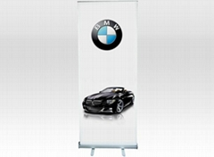 Economical roll up banner display stand