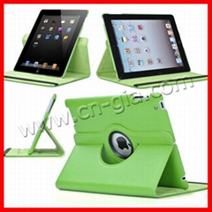360°Rotate Leather smart cover case for Apple the New iPad 4 4G/iPad 3/iPad 2