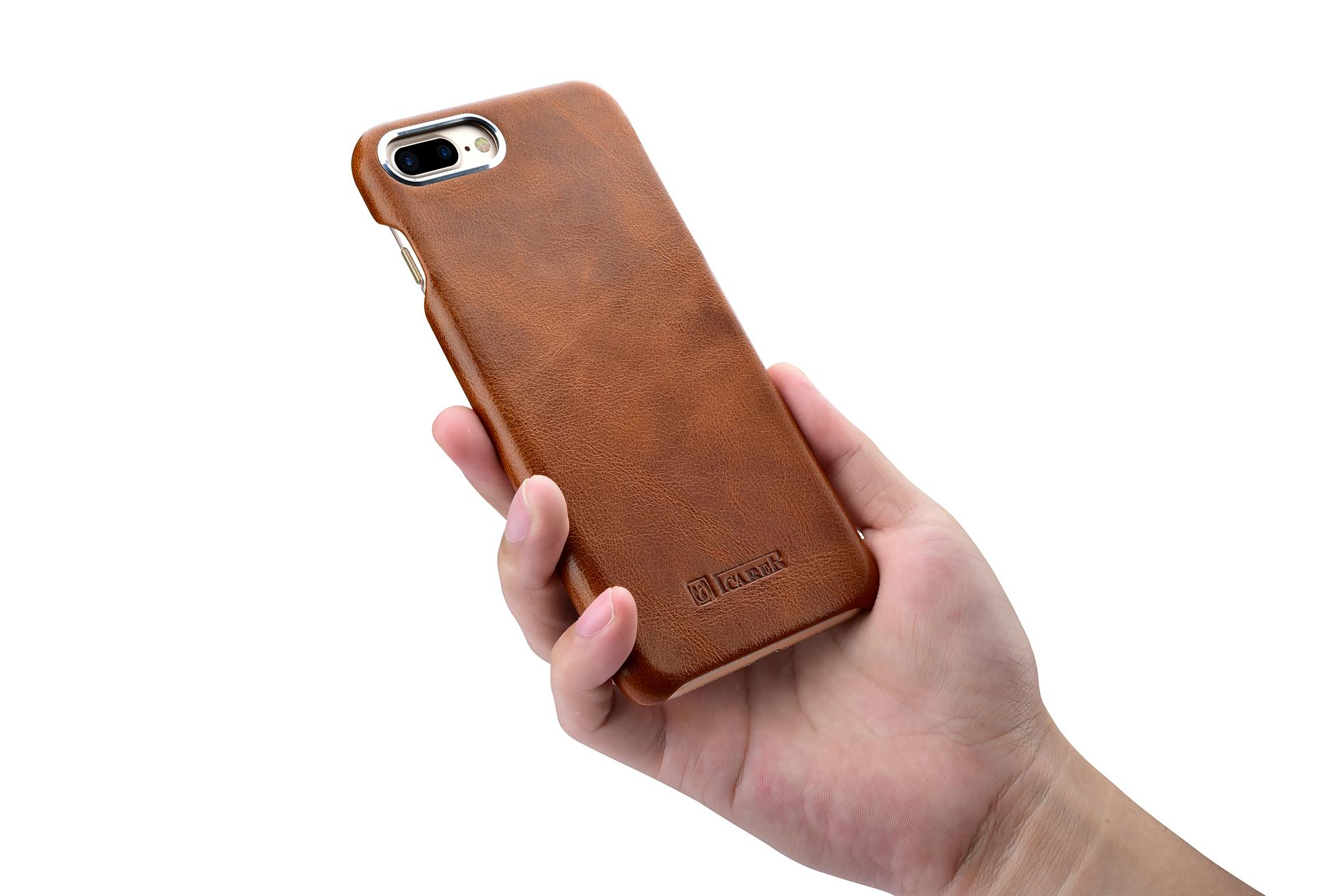 iCarer iPhone 7 Plus Metal Warrior Oil Wax Real Leather Back Case 15