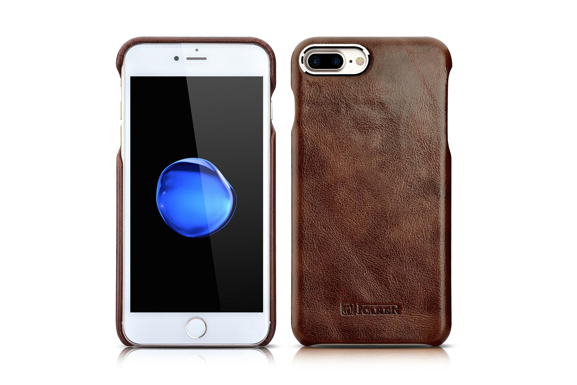 iCarer iPhone 7 Plus Metal Warrior Oil Wax Real Leather Back Case 17