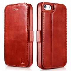 2017 iCarer iPhone SE/5S/5 Vintage Wallet Case with Two Credit Cards Slot Design