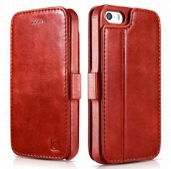 iCarer iPhone SE/5S/5 Vintage Wallet Case with Two Credit Cards Slot Design