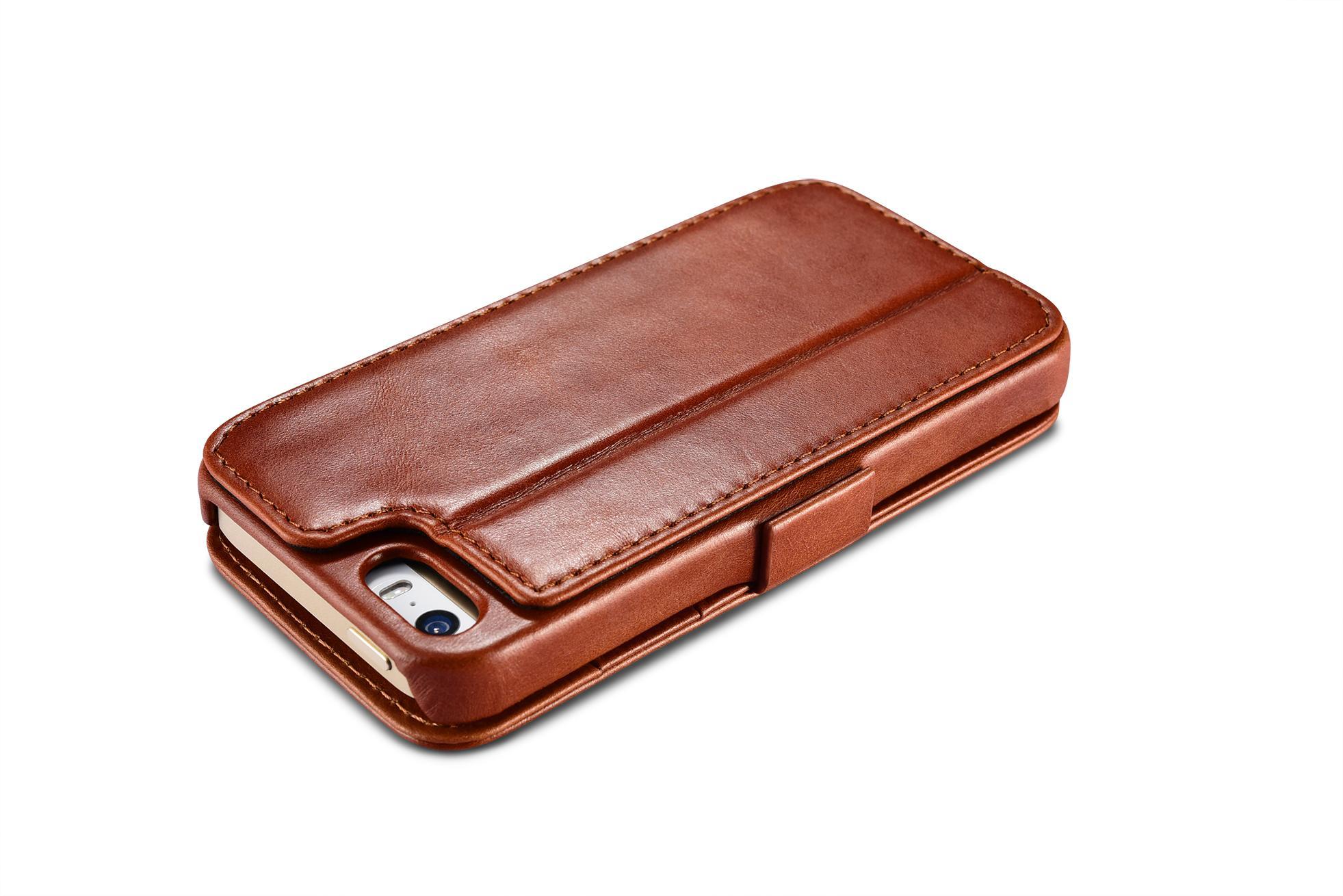 2017 iCarer iPhone SE/5S/5 Vintage Wallet Case with Two Credit Cards Slot Design 8