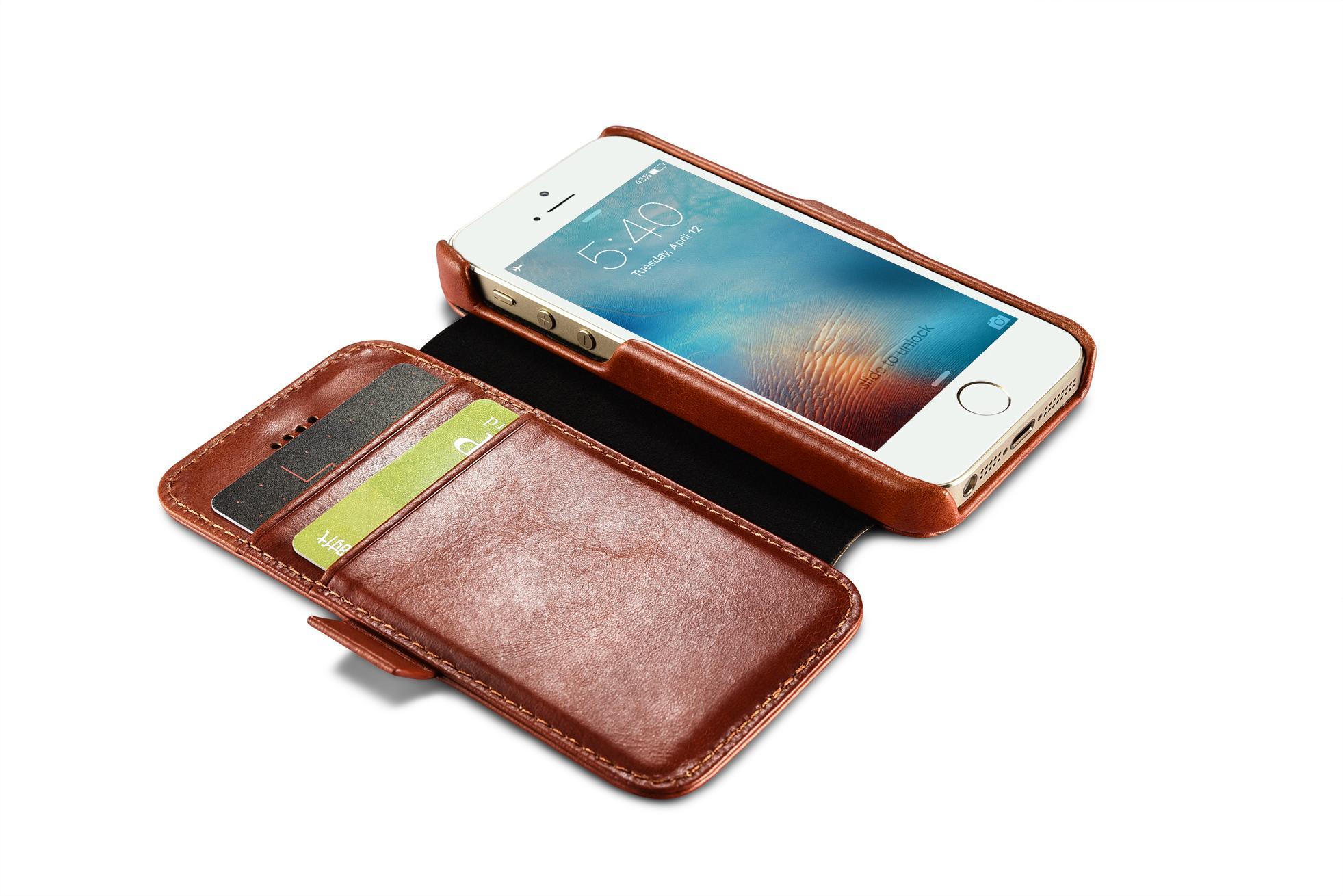 2017 iCarer iPhone SE/5S/5 Vintage Wallet Case with Two Credit Cards Slot Design 15