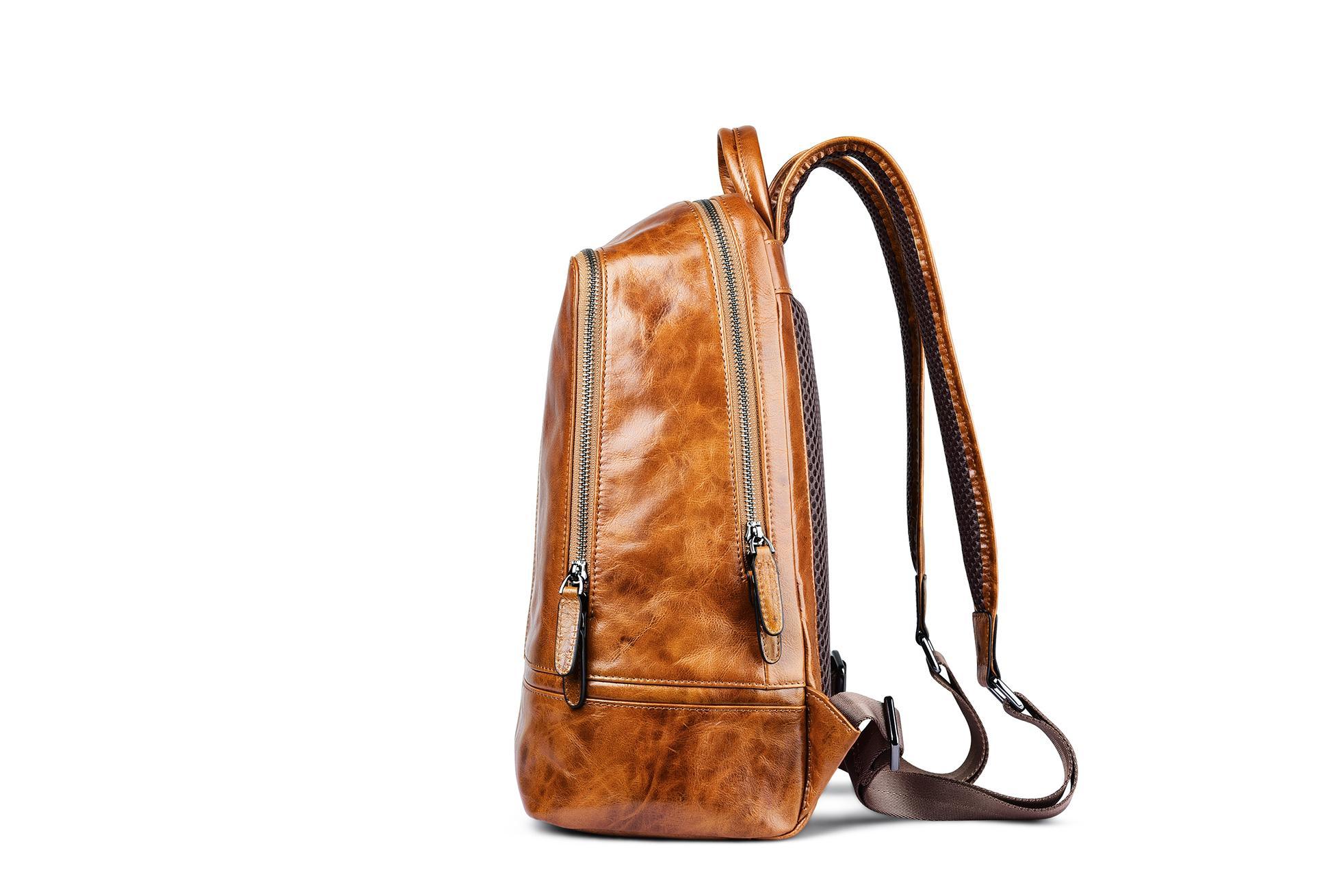 iCarer Vintage Oil Wax Real Leather Backpack 5